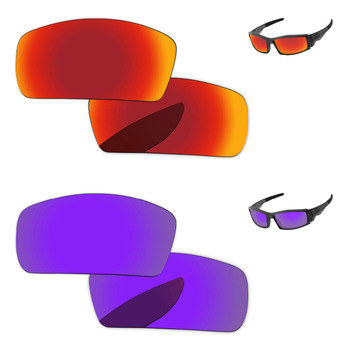 Plasma Purple & Fire Red 2 Pairs Mirror Polarized Replacement Lenses For Canteen 2006 Sunglasses Frame 100% UVA & UVB Protection