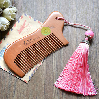 Party Favors Natural Peach Wood Mini Comb with tassel Close Teeth Head Massage Hair Care Tools Hairbrush Hairdressing Accessory 5