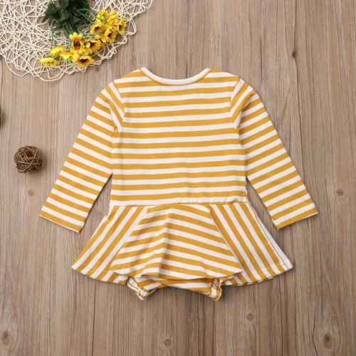 Коллекция 2018 года, Брендовое платье в полоску с длинными рукавами для новорожденных девочек, комбинезон, желтая осенняя одежда