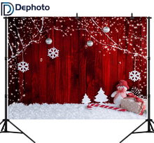 Dephoto Red Wooden Wall Snowman Gift Christmas Decor Photography Backgrounds Customized Photographic Backdrops For Photo Studio