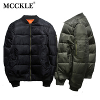 MCCKLE 2018 Autumn Winter Men Bomber Jackets Army Tactical Baseball Jacket Cotton Padded Solid Color Coats Mens Warm Outwear