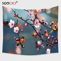 Cutom Tapestry Wall Hanging,Japanese Asian Symbolic Ivy Swirl Flower Sakura Tree Dark Grey Backdrop Image Light Pink Seal Brown