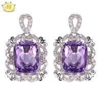 Hutang 6 08ct Amethyst Vintage Style Earrings Solid 925 Sterling Silver Fine Natural Gemstone Jewelry Women