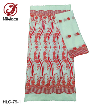 Millylace Swiss cotton voile lace fabric with embroidery 5 yards + soft chiffon fabric 2 yards for women clothes HLC-79