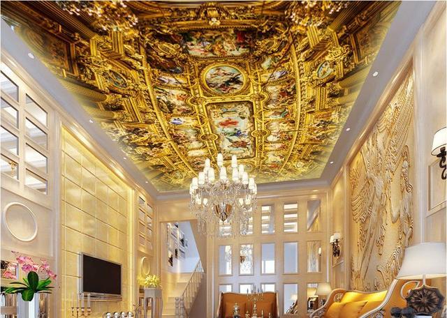 3d Wallpaper Mural Ceiling Luxury Golden European