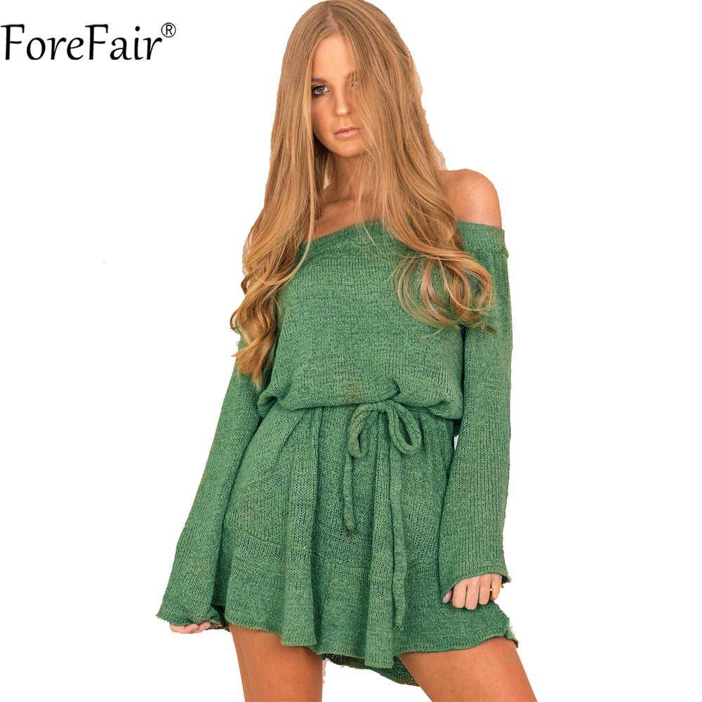 ForeFair Sexy Slash Neck Flare Sleeve Ruffles Loose Tunic Dress Women Green Khaki Black Purple Knitted Autumn Winter Dress women s loose sexy casual v neck flare hem mini dress black m