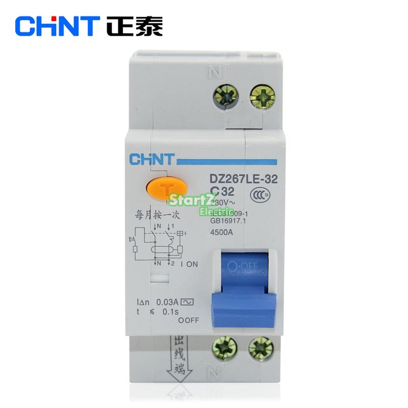 CHNT DZ267LE-32 1P+N DPNL 10A 16A 20A 25A 32A Residual current Circuit breaker RCBO chint nxble 40 1 n dpnl rcbo 6a 10a 16a 20a 25a 32a 40a 230v 50 60hz earth leakage circuit breakers leakage protection dz267le