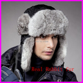 High Quality 2016 Winter Mens Fur Bomber Hats With Ear Flaps Warm Russian Real Rabbit Fur Caps