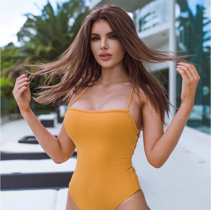 backless lace up sexy women bodysuit 2019 summer sleeveless skinny yellow straps cross body