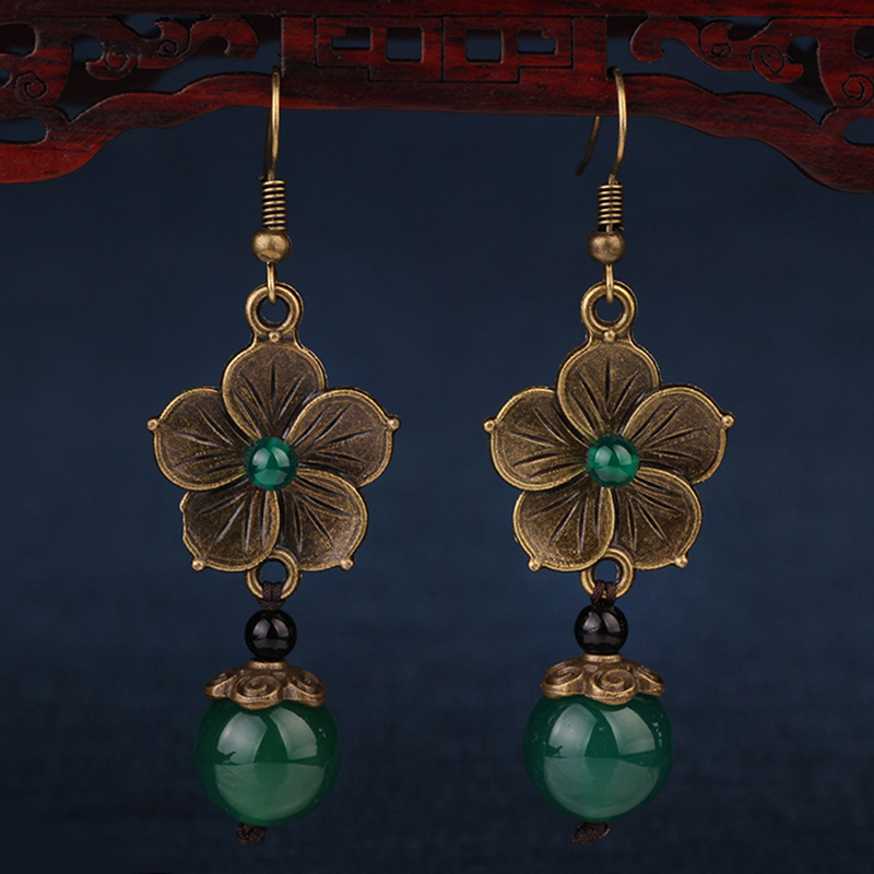 NEW MYWINY OWN DESIGN metal flowers vintage ethnic green earrings for women 18 design