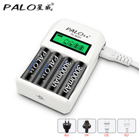 PALO Battery Charger C907W 4 Slots LCD Display Intelligent Charger For Battery AA AAA Ni Cd