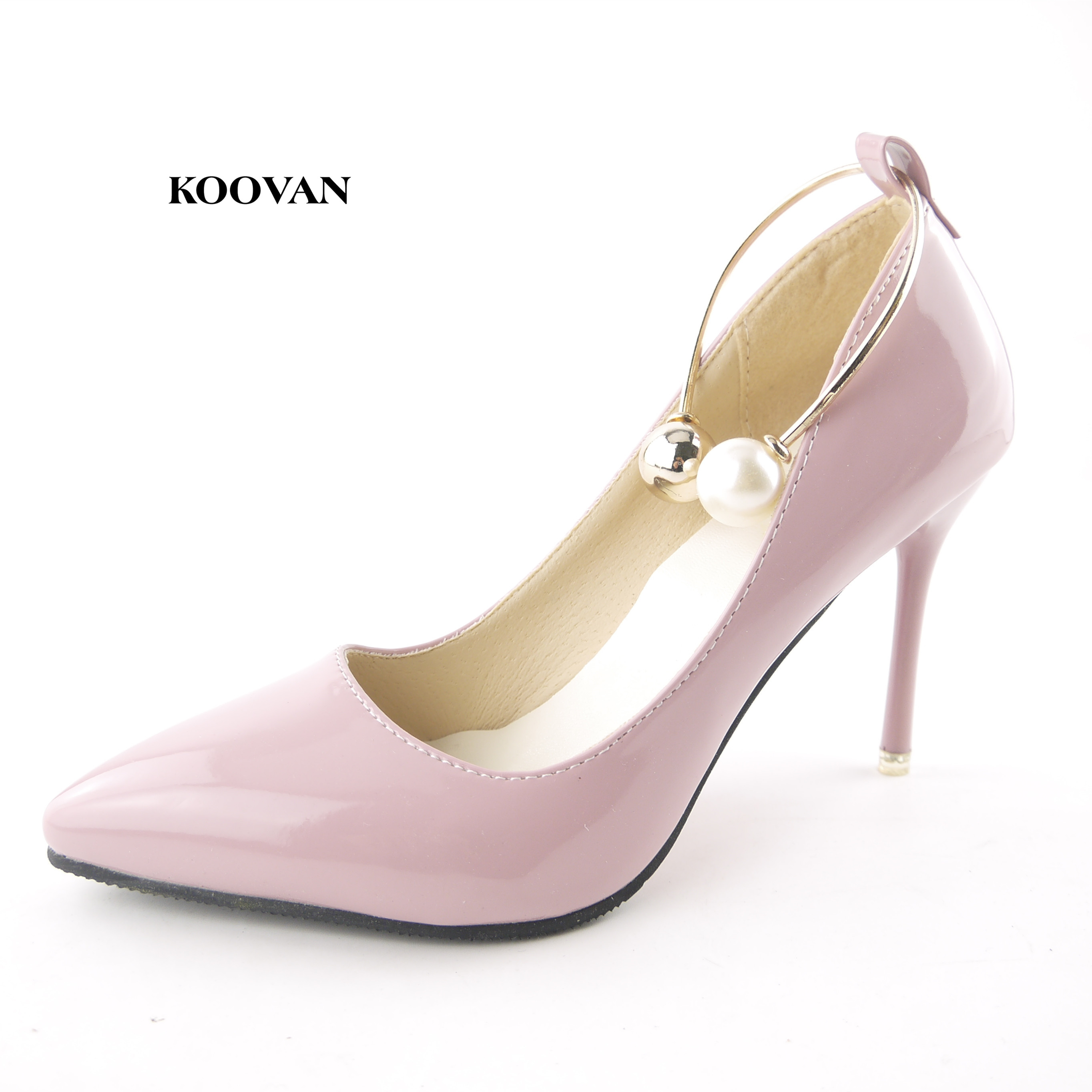 Koovan Women Pumps 2018 Spring New Shallow Mouth Pointed Shoes Heel Pearl Buckle With High-heeled Ladies Shoes 2018 spring summer new women s pumps scrub sheepskin flowers rhinestone coarse high heel shallow mouth craft shoes