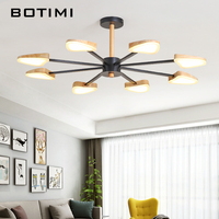 BOTIMI Modern LED Chandelier With Wooden Lampshade For Living Room White Metal Chandeliers Wooden Lustre Black Hanging Fixture
