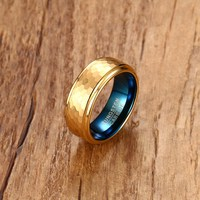Fashion Mens Rings 8MM Blue Tungsten Carbide Gold Color Hammered Ring Men Wedding Engagement Band Gents