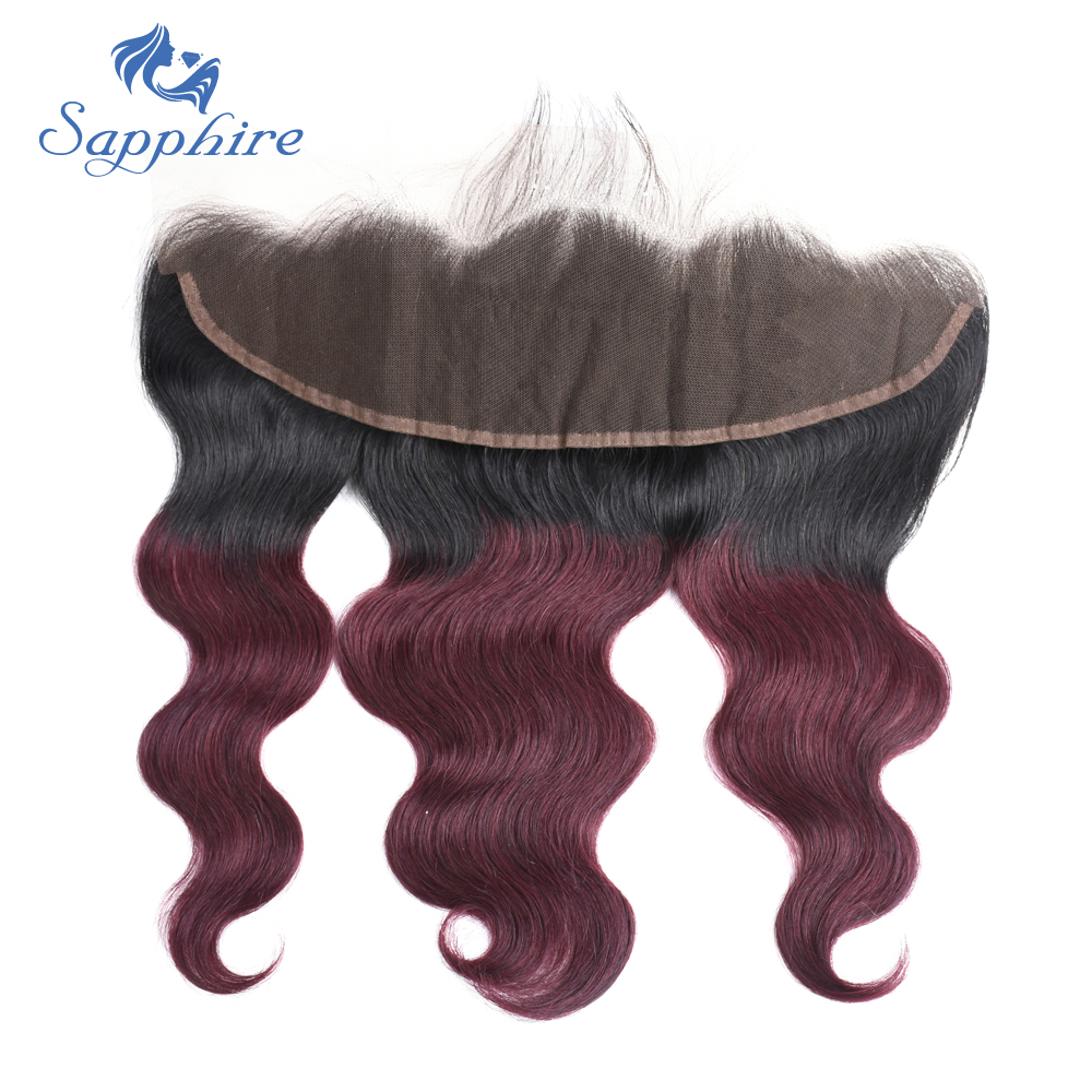 Sapphire Body Wave Remy Hair 13*4 Lace Frontal With Baby Hair T1B/99J For Hair Salon High Ratio Longest Hair PCT 15% Free Part ...