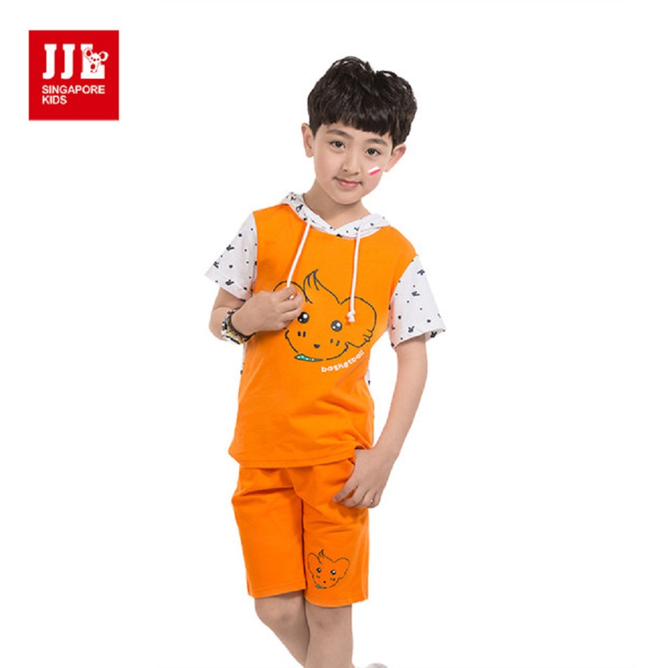 JJL KIDS Summer Fashion Casual Sport Boys Active Cotton Clothing Set Cartoon Print Cotton Short Sleeve Children for 5-11years free shipping 2016 summer new arrive letter fashion children boy clothing set 100% cotton short sleeve casual clothes set