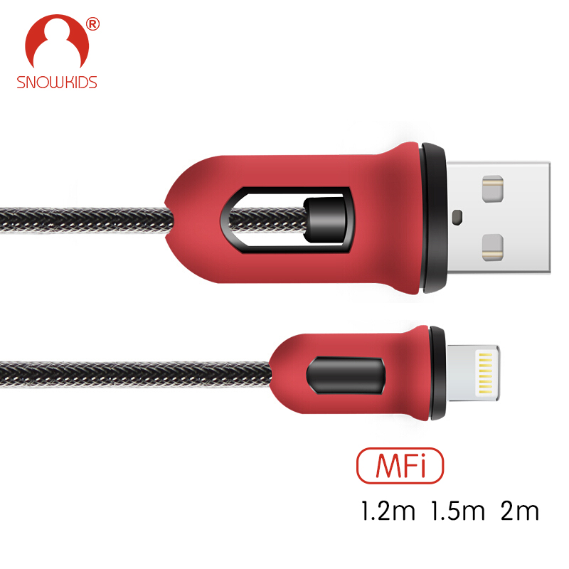 Snowkids MFi Cable Certified for iPhone X 8 7 6 5 iPad Red & Black Armor Design Hot Sale