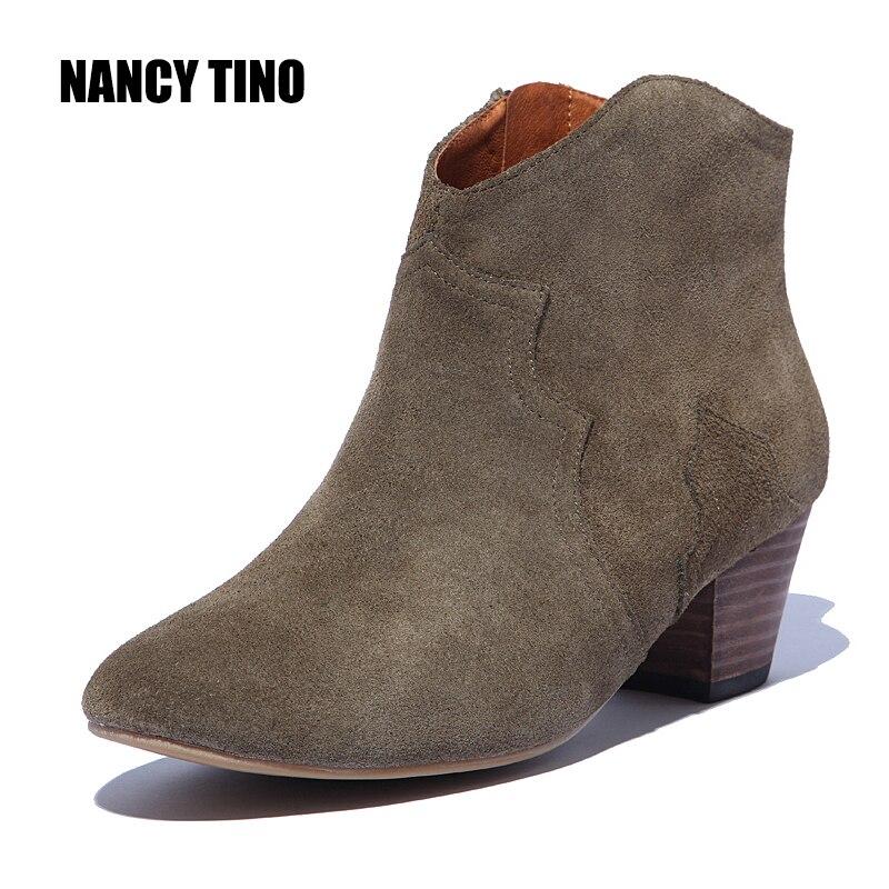 NANCY TINO 2017 Spring/Autumn Ankle Boots For Women Medium Heel 100% Genuine Nubuck Leather Women's Fashion Short Martin Shoes tino sehgal