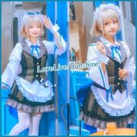 Love Live! cosplay Sunshine Aqours Yoshiko Riko Dia You cosplay adult costume all members black and white maid dress costume