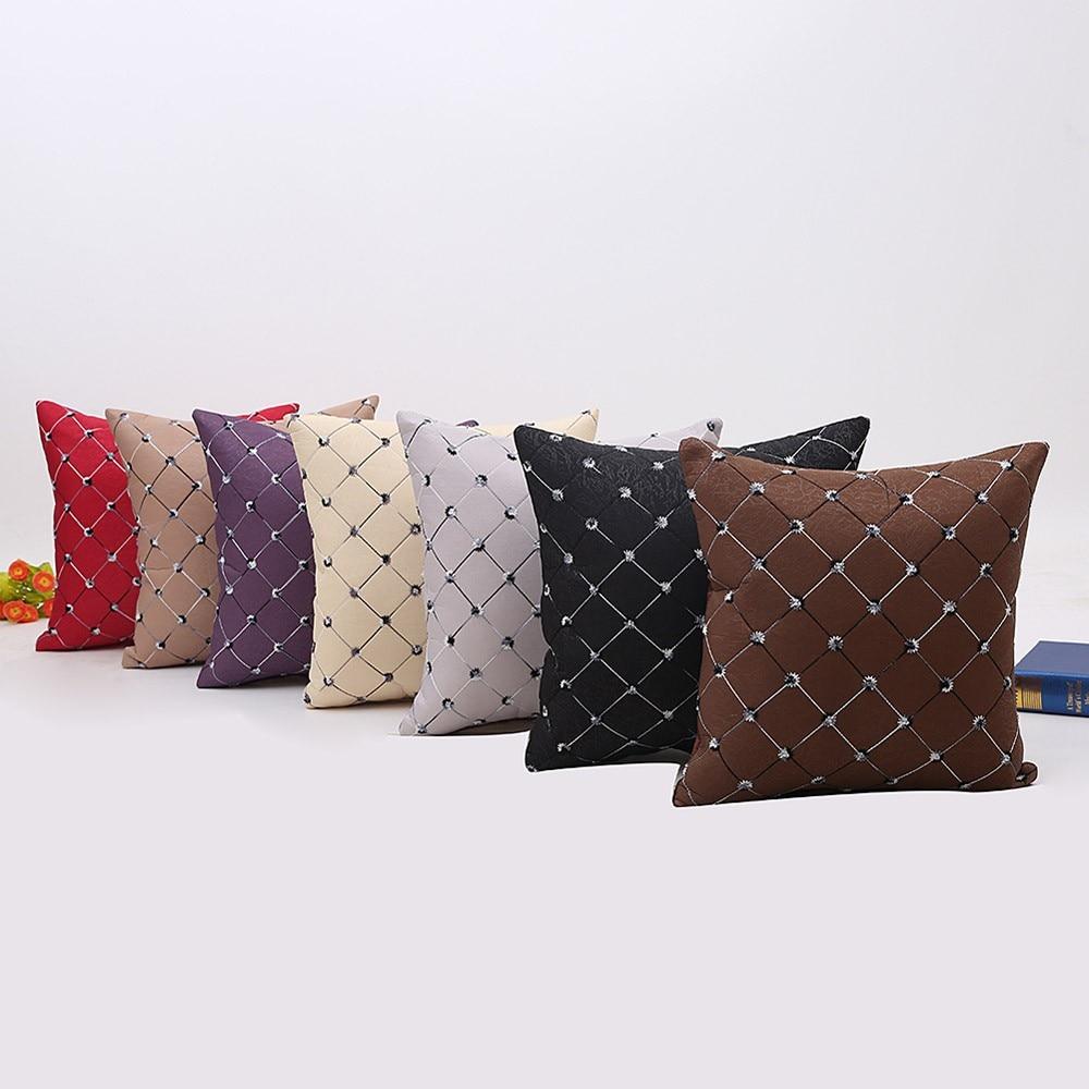 Cotton Linen Square Home Sofa Bed Decor Plaids Throw Pillow Case Square Cushion Cover Decorative 45x45 Pillow Case