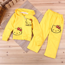 New cartoon HELLO KITTY girls long-sleeved sweater suit two-piece girl sweatshirt minnie Kids Hoodie pants outwear sets