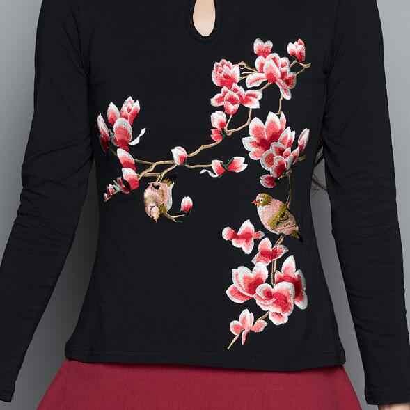中国のシャツ2018女性エスニックブラウス女性m-4xlエレガントヴィンテージマンダリン襟長袖黒刺繍シャツAF546