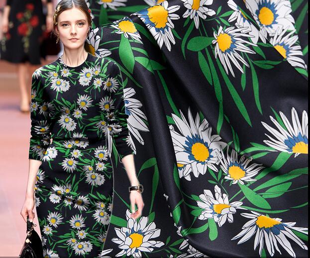 Sexy noir fleur florale soie tissus robes tweed scrapbooking pas cher fête satin dentelle tissu tissu africain telas costura, A188