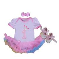 Baby Rompers 3PCs Infant Clothing Set Baby Girls Rainbow Pink 1st Birthday Tutu Dress Jumpersuit Headband Shoes
