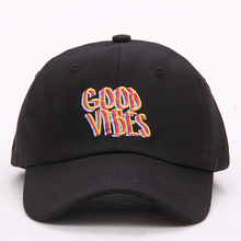 2017 new men women Good Vibes Dad Hat Embroidered Baseball Cap Curved Bill 100 Cotton Casquette