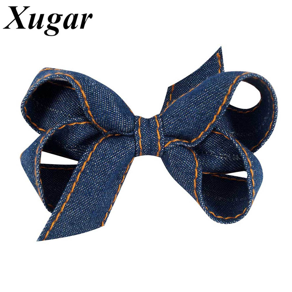 2 Pieces 3.5'' Handmade Denim Hair Bow For Kids Girls Boutique Headwear Hair Clip Fashion Hair Accessories women headwear gift rhinestone hair claw butterfly flower hair clip 5 5cm long middle size bow hair accessories for girls