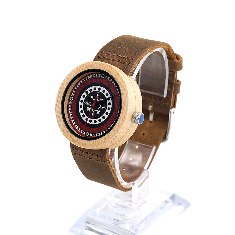BOBO BIRD J15 Ebony Bamboo Wooden Watch For Ladies Genuine Brown Leather Strap Quartz Analog Watch Miyota Movement Women Gift bobo bird bamboo wood quartz watch men women japanese majoy movement soft silicone strap casual ladies watch wristwatch for gift