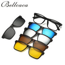 Bellcaca Spectacle Frame Eyeglasses Men Women With 5 clip on Polarized Sunglasses Magnetic Adsorbent For Male Eye Glasses BC124