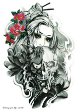 LC2834 21x15cm Body Arm Tattoo Sticker Halloween Horror Skull Ghost Crying Girl Designs Temporary Tattoo Terrorist Skeleton
