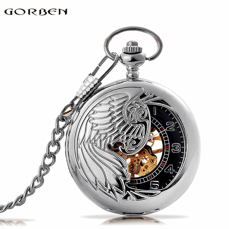 Fashion Phoenix Wing Hollow Silver Case Black Dial Skeleton Automatic Mechanical Men Women Pocket Watch FOB Chain Gift P380 phoenix phoenix p 4607 1