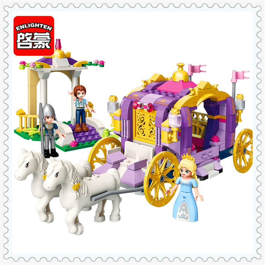 358Pcs Girl Friends Princess Royal Carriage Model Building Block Toys ENLIGHTEN 2605 Figure Gift For Children Compatible Legoe princess ponies 6 best friends for ever