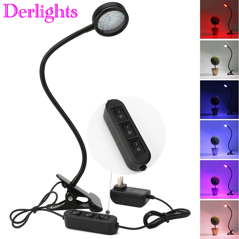 Switch Dimmable LED Grow Light With Desk Holder Clip Growing Lamp For Indoor Greenhouse Flowering Plant And Hydroponics System