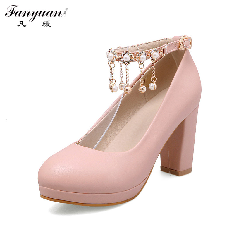 ФОТО 2017 Women Thick High Heels New Ankle Strap Shining Crystal Flower String Bead Shoes Solid Shoes Sweet Platform Pumps