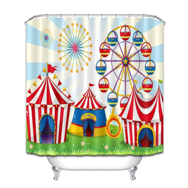 72 Bathroom Waterproof Fabric Shower Curtain Polyester 12 Hooks Bath Accessory Sets Circus Tent