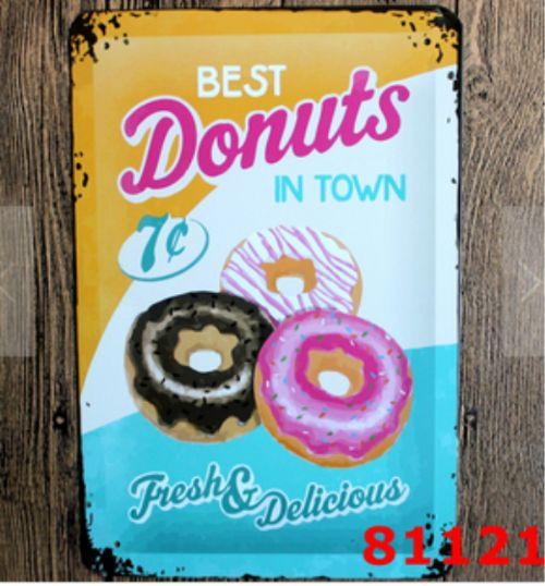 Best Donuts in Town - Retro Metal Sign 20x30cm Embossed Placard Donut outdoor wall plaques