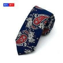 Ties Slim Navy With Green Leaf Yellow Red Floral Necktie Cotton Mens 6cm Skinny Neck Vogue Corbata