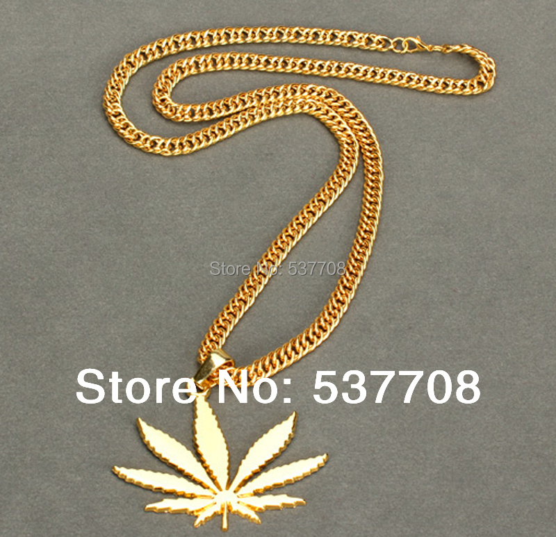 2014 Brand Hip Hop Rap Maple Leaf Pendant Necklace Chain Men Vintage Jewelry Gold Plated Necklaces Pendants Accessories - Fashion Front store