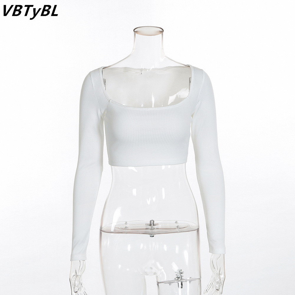 7b1beabc4d53 VBTyBL 2018 new arrival solid Fashion Cropped t shirt Women Turtleneck Slim  Stranger Things t shirt White Knitted Sexy Crop Top-in T-Shirts from Women s  ...