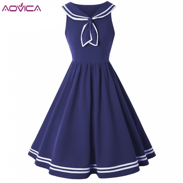 8eca4e3412c Aovica Women Robe Pin Up Dress Retro Vintage 50s 60s Rockabilly Swing  Summer female Dresses Sailor Collar Elegant Tunic Vestidos