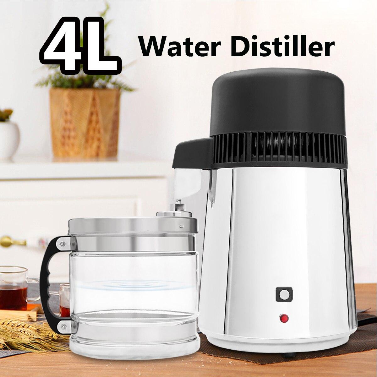 4L 750 W acier inoxydable Ménage Pur distillateur d'eau Maison Laboratoire Distillateur purificateur d'eau Contenant bocal en verre Boire Filtre