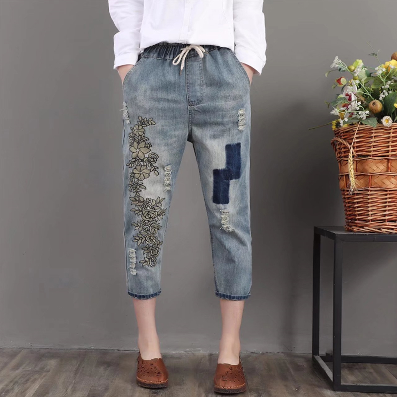 Women Floral Embroidery High Waist Harem Jeans Boyfriend Ripped Holes Denim Pants Female Casual Loose Plus Size Jeans