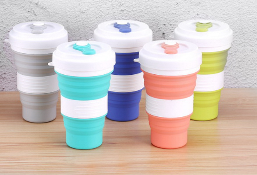 DHL 20pcs 550ml Folding Silicone Cup Travel Portable Water Cup Leak Proof Silica Coffee Mug Drinking