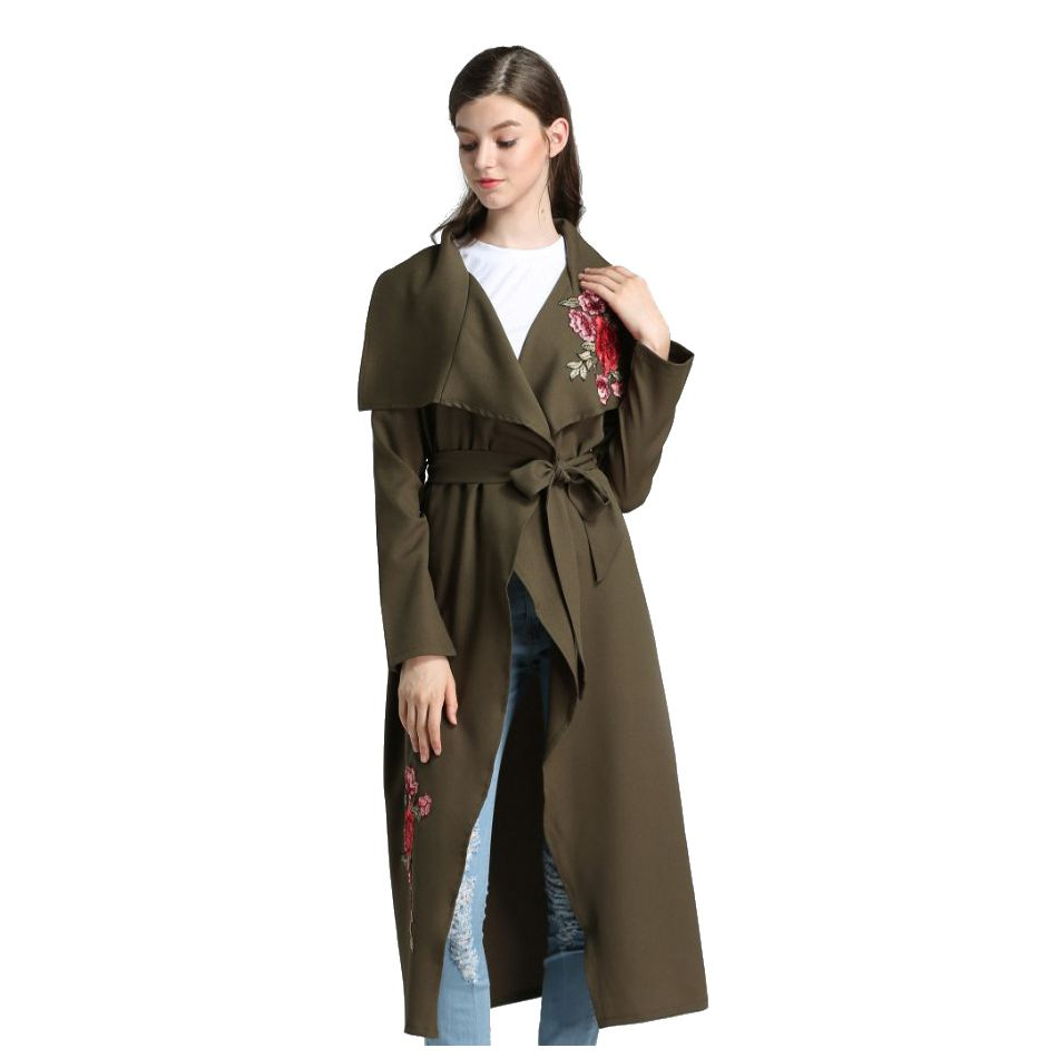 MYPF-Autumn Spring Embroidery Floral Pink Long Trench Coat Women Overcoat Casual Outerwe ...