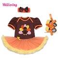 Новорожденный Наряды Девочка Одежда Orange Симпатичные Турция Благодарения Туту Dress Shoes 3 Шт. Детские Малыш Одежда Набор