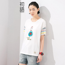 Toyouth 2017 Summer New Arrival Female T-Shirts Cartoon Print Preppy Style O-Neck Short-SleeveT-Shirt Women Loose Casual Tops
