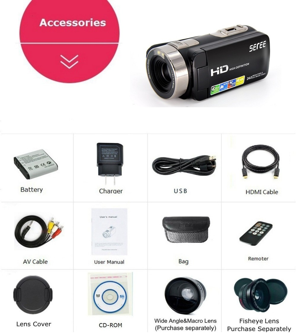 Marvie FHD 1080P Digital Video camera fotografica Camcorder Wide Angle Macro Fisheye Shooting 24M Touch Remote DV DVR filmadora 6